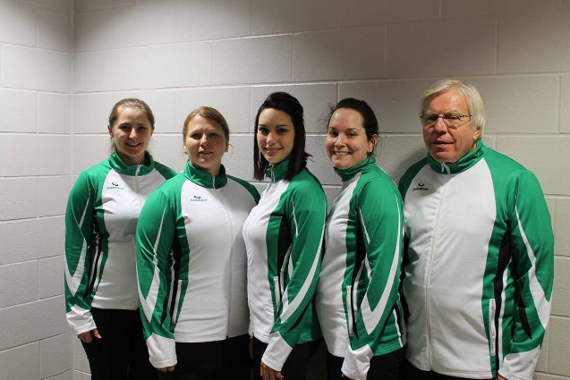 Danielle (second from the right), with Team Barker, the team that won the provincials and competed in the Scottie's Tournament of Hearts