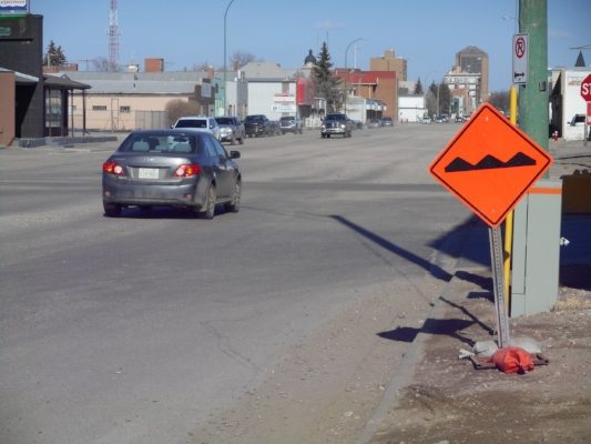 Photo Credit - Rough Road signs now greet drivers.