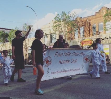 Real life ninjas, Colin Rosnes led his Five Hills Chito Ryu Karate Club kids.