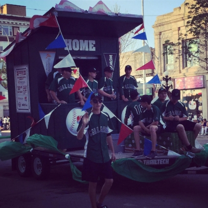 Coaches Curtis O'Reilly and Scott Montgomery led Moose Jaw Minor Baseball's Mallards on a fantastic float that was designed by WOW Factor Media and towed by Robinson Contracting LTD.