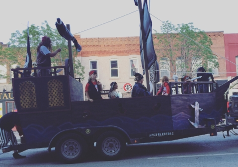 Apex Electric pulled out all the stops in designing their pirate ship float and staffing it with real swashbuckling pirates.