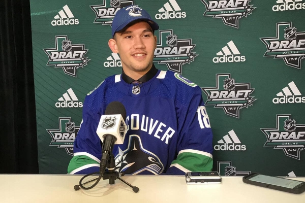 Jett Woo was drafted by the Vancouver Canucks with the 37th overall pick