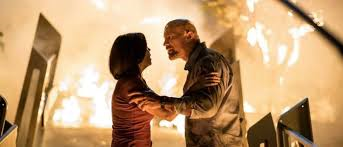 Neve Campbell and Dwayne Johnson