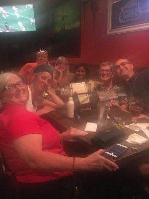 Angie's dominant trivia team, complete with the Toews sisters and Sharon Bala, author of  The Boat People