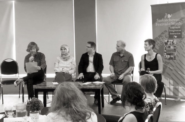 Angie (on the far right), during a panel discussion the Future of News Media in the Digital Age. Also on the panel, from left to right was Mark Medley (Opinion Editor at the Globe & Mail), Monia Mazigh (author of Hope hasTwo Daughters) and a pair of representatives from the Moose Jaw Express)