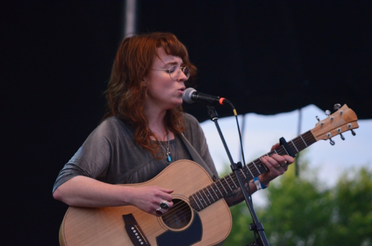 """The Mage of Mortlach. The Pride of Moose Jaw. Megan Nash performed with Tanner Wilhmel Hale from Bears in Hazenmore singing melody. She played """"Salted Salamanders"""", """"Deer Head"""" and many more of her local classics. One of the best things about a Megan Nash performance is her banter with the crowd. She told a story from her youth about protesting A&W for not using Canadian beef that had the crowd in stitches."""