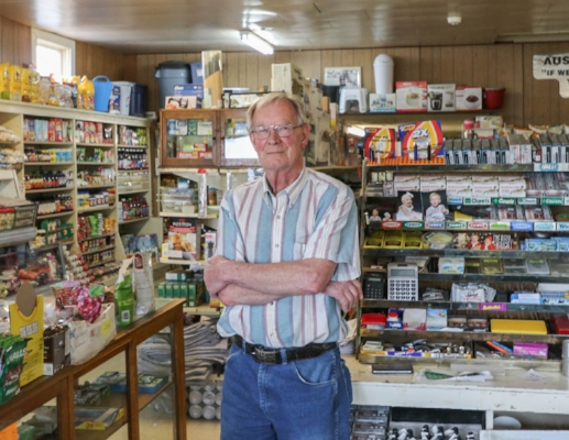 Photo: Saskatchewanderer   Ronnie Aust, the current owner of Aust's General Store