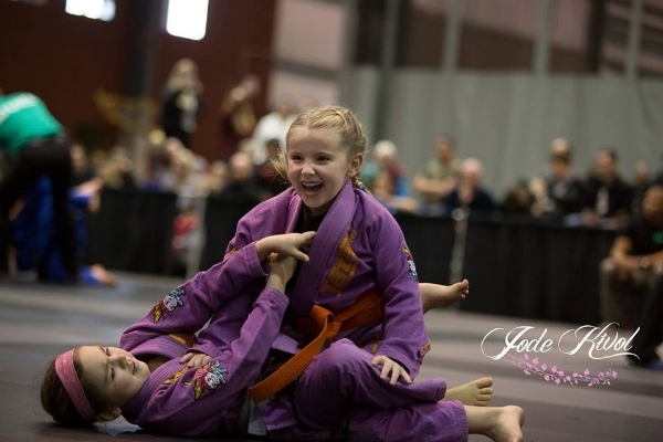 Young Sophia Page was all smiles capturing two Gold medals. Here she is battling teammate Bellemy Clayson