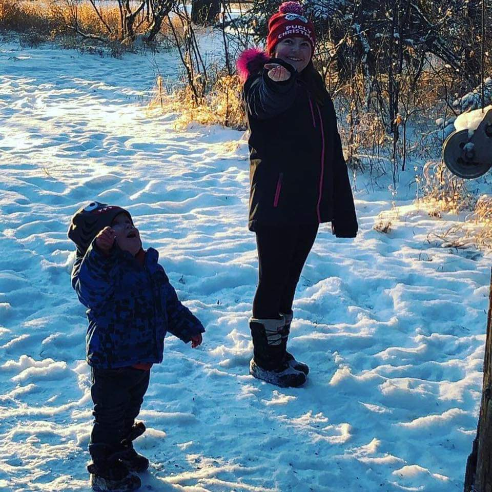 I was able to encourage a young mother and her children to head down to Wakamow last Sunday. And they had a great time, the birds were landing in their hands. She said the kids loved it, the birds were pretty happy as well. (Photo by Melissa Schultz)