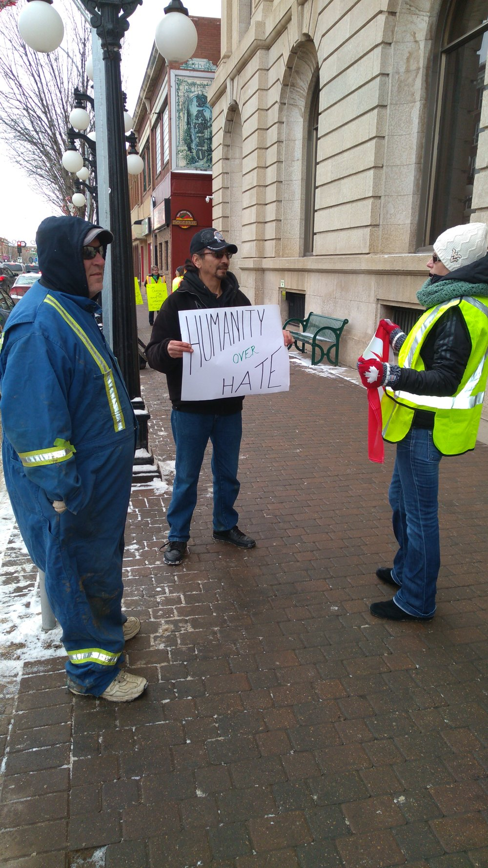 Differences of opinion had people debating in front of City Hall