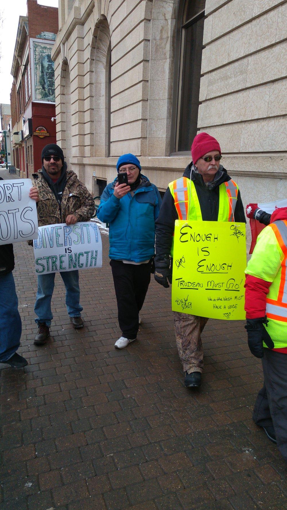 Protestors on both sides intermingled