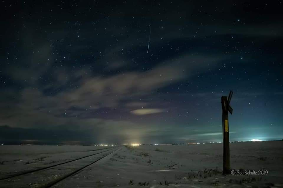 A shot of the Moose Jaw skyline, where Bob Schulz was chasing the Aurora Borealis or Northern Lights - Bob Schultz Photo