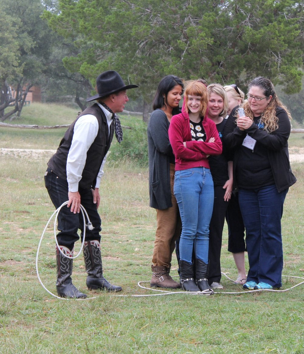 2014 - Our second retreat was at Rancho Cortez, a dude ranch in Bandera, TX. 50 girls came out to join us for this retreat. We rode horses, learned how to lasso, and enjoyed local music around the fire.