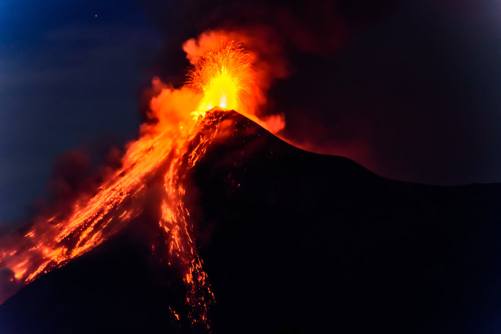 Lava spurts from erupting Fuego volcano in Guatemala. Photo by Lucy Brown.