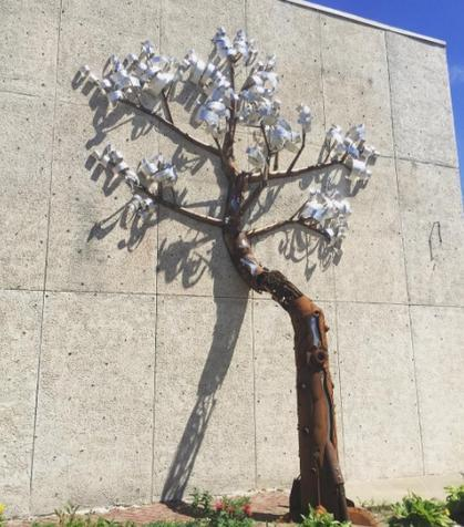 Michael Marras's tree on the west side of the Hazel Tree studio.