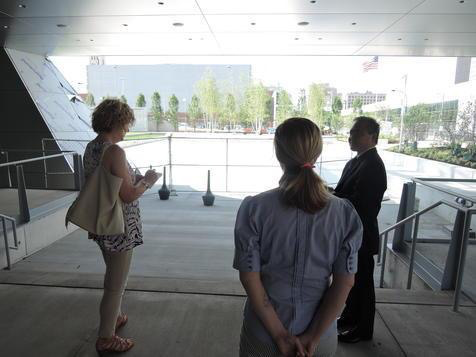 That's Mark Masuoka and Jennifer Shipman of the Akron Art Museum talking with Akron Beacon Journal writer Mary Beth Breckenridge. They were discussing the way the space transitions between the museum building itself, through the existing terrace and out into the garden. Mark and Jennifer served as the internal Project Managers over the entire process - from conception to completion of the garden.