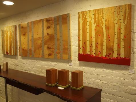 Paintings on wood by Rachel Jernigan