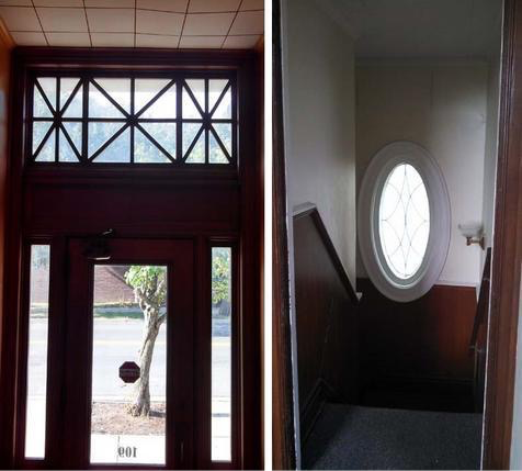 Some of my favorite details...the front door and this lovely oval window in the stairwell.