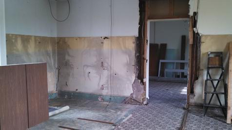 What will be the second apartment upstairs. The area on the left there is where the kitchen will go. Through the doorway will be a living area, laundry, bath and bedroom.