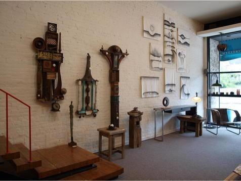 On the walls...  Found Object Assemblage Pieces by Terry Klausman  Graphite on Textile by Heather Bryson