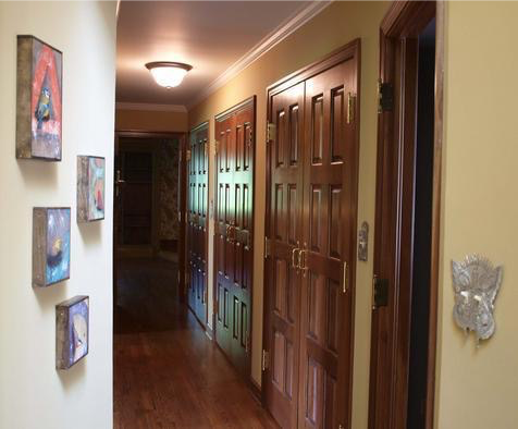 Artwork by Michael Marras. Light switch plates by Leandra Drumm.