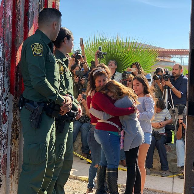 """No borders in Your love, no division in Your heart."" Love has no borders. Today 11 families were briefly reunited at the Mexico-United States border. For full coverage of the event head over to @justdimelo."
