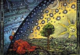 Flammarion engraving of a missionary                    studying the horizons