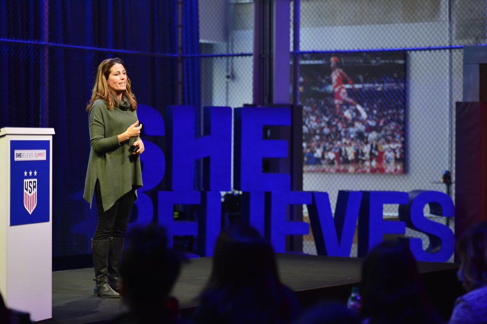The entertaining and inspiring Julie Foudy delivers a powerful SheBelieves in Her Dream Keynote.
