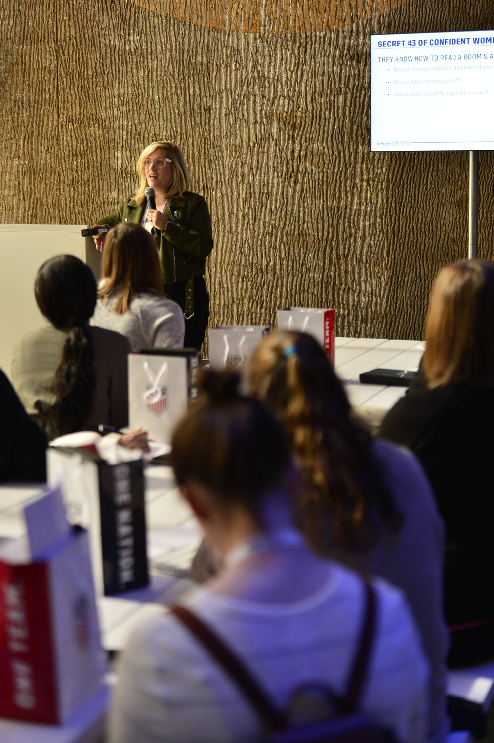 Lea Goldman, Editor in Chief at LifeTime Television, speaks about self-esteem, confidence and motivation during the SheBelieves in You breakout session.
