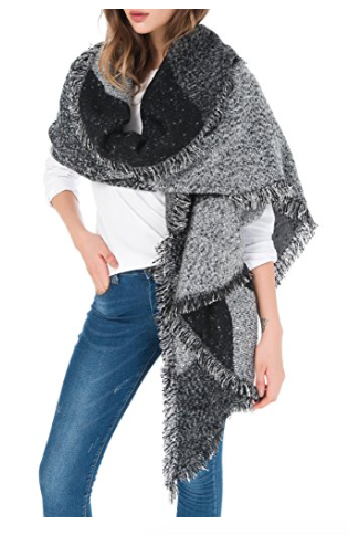 Fluffy Patchwork - I have almost this exact scarf in two colours - the grey and purple/red versions. I am OBSESSED with it - I wear it all the time (even just hanging out in the house). Its amazing and you need it too! Buy it here