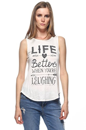 The Look for Less - There are so many options on amazon for this but I chose one that I personally like. I like the message, I love tank tops, and its 95% Rayon 5% Spandex which will help maintain the shape. Its also under $10! Buy it here