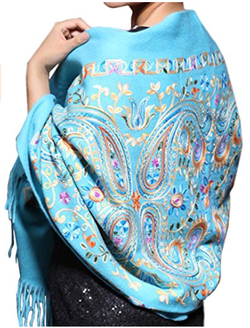 Colourful Embroidery - I love the colourful embroidery of this scarf contrasting on the beautiful bright blue! Its 100% Wool and can be yours for $34.99. Buy it Here!