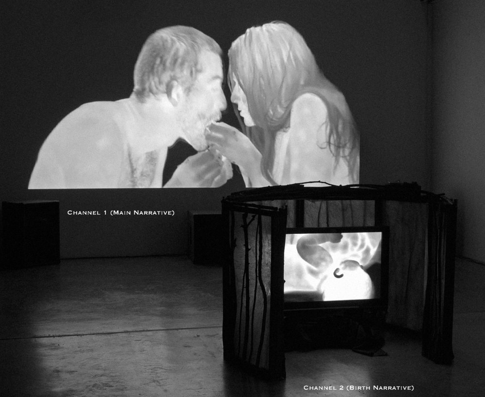 INCIDENT ENERGY- Installation view, Channel 1 Main narrative in the background, and Channel 2 Birth (hut). Disjecta Contemporary Fine Art, Portland, Oregon. Marne Lucas and Jacob Pander, 2013. Funded in part by at RACC Project Grant.  https://vimeo.com/119734456
