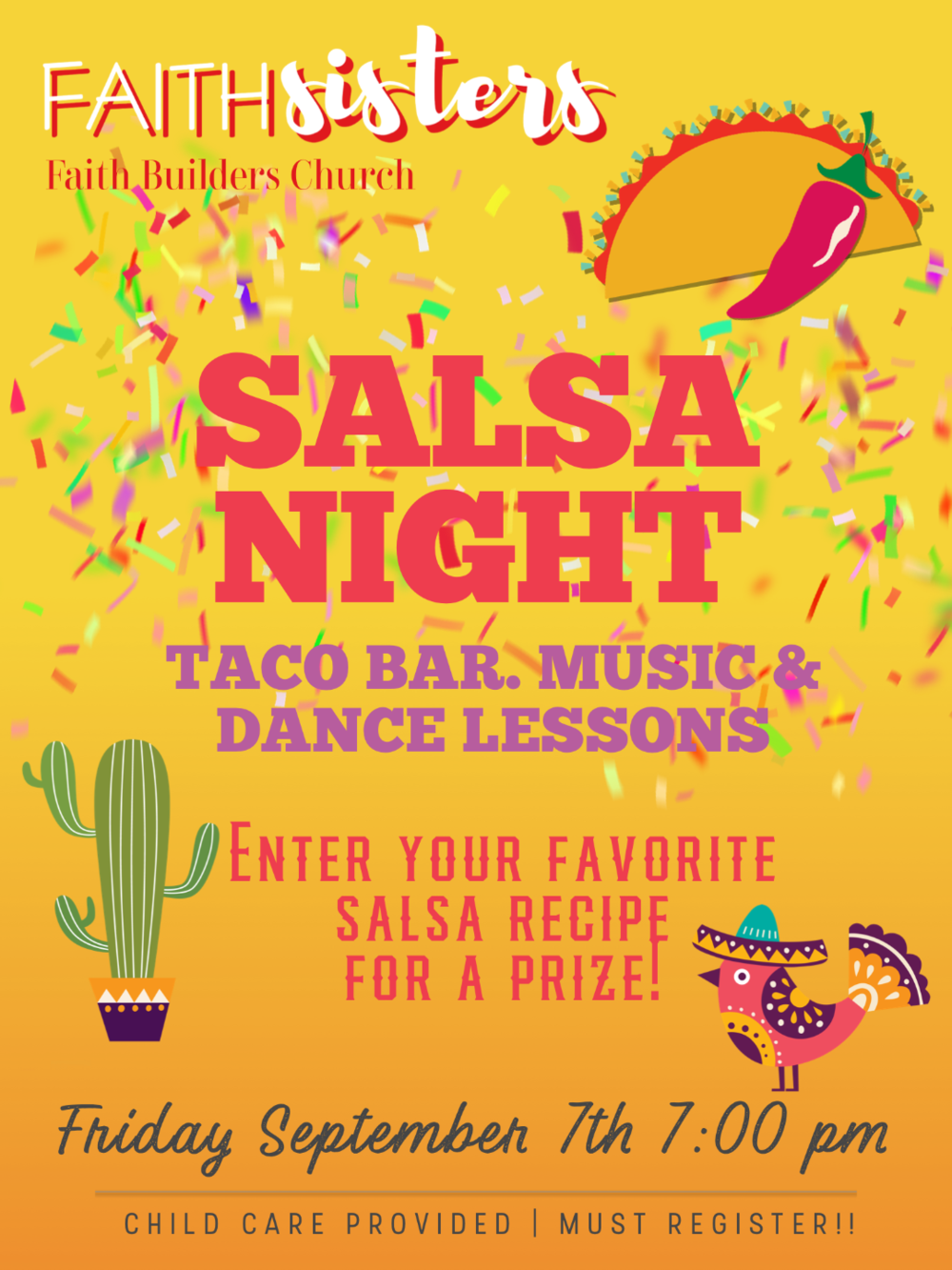 FaithSisters Salsa Night - Friday, September 7th 7:00 pm
