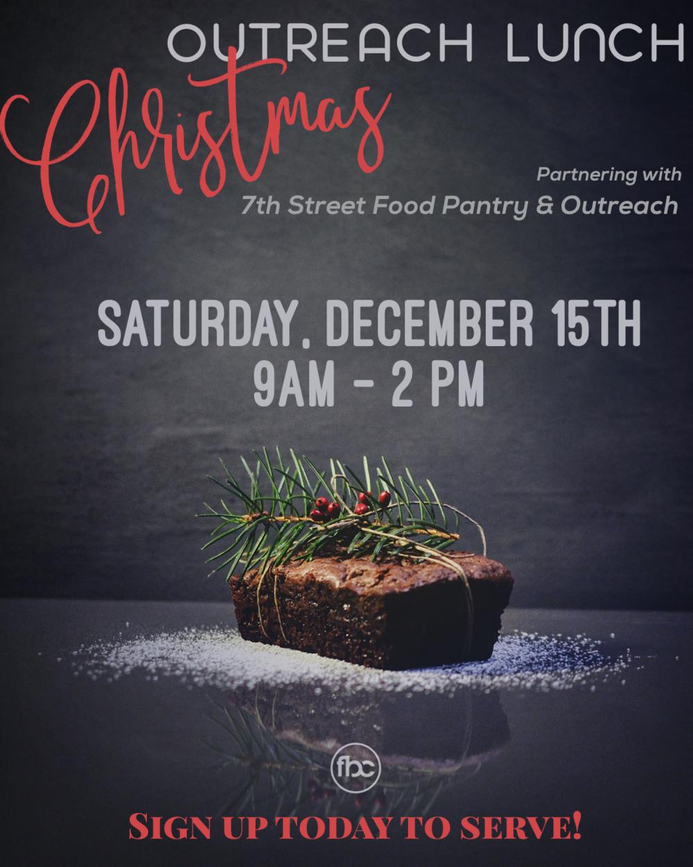 Christmas Outreach - Sunday, December 2nd 10:30 am Service
