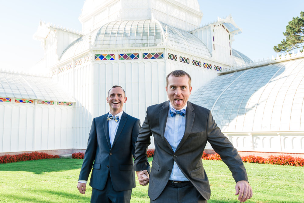 a lovely same-sex wedding at the San Francisco Conservatory of Flowers