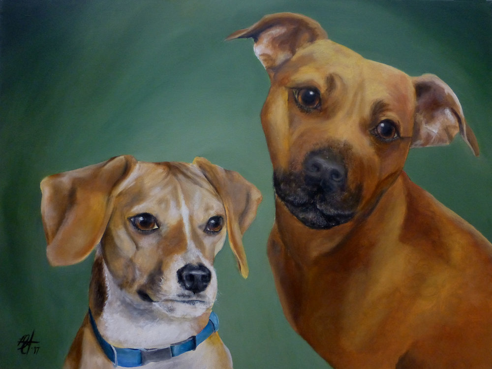 PET PORTRAITS -       Size                   Acrylic               Oil            Add 1 pet8 x 10                   $100.00            $150.00        + $2512 x 18                 $150.00            $200.00        + $2516 x 20                 $200.00            $275.00        + $5018 x 24                 $250.00            $350.00        + $5024 x 30                 $300.00            $425.00        + $75  30 x 40                 $400.00            $550.00        + $100Takes 2-4 weeks to complete.  Custom sizes will be quoted upon request.
