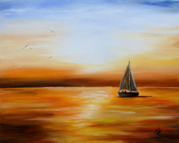Ocean Sailboat Sunset