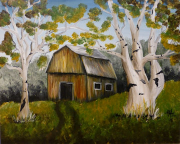 Barn and Birch Trees