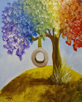 Rainbow Tree with Tire Swing