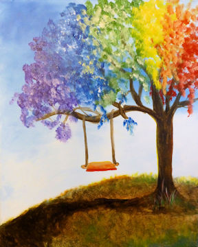 Rainbow Tree with Swing