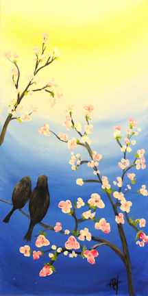 Spring Birds on Branch - 12x24 canvas
