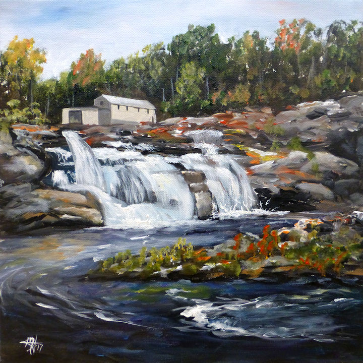 Great Falls - Falls Village, CT - 12x12 acrylic