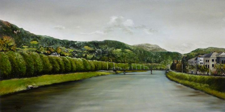 Karolinenbrucke-Caroline Bridge Salzburg Austria over River Salzach-24x48 oil