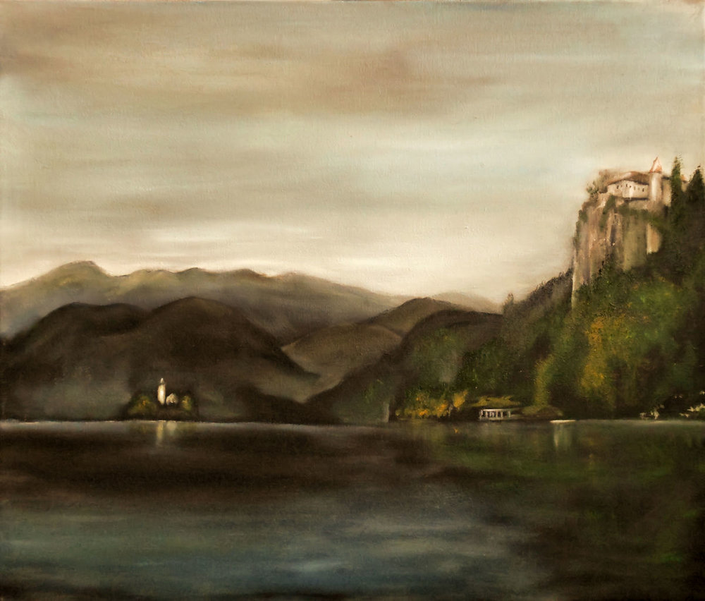 Lake Bled, Slovania - 23x27 acrylic and oil