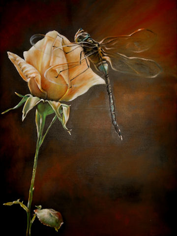 Dragonfly Rose - 18x24 oil