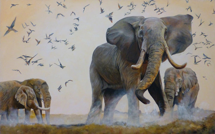 Elephants - 30x48 acrylic