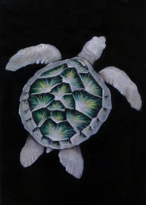 Right Sea Turtle - 5x7 acrylic