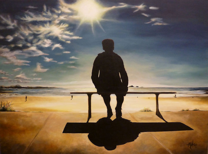 Man on Bench at Beach - 30x40 acrylic
