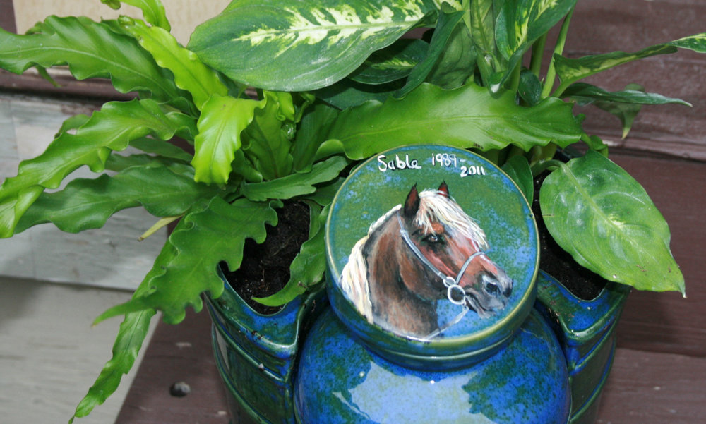 Horse portrait on Urn